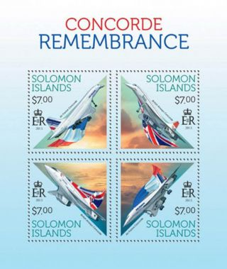 Solomon Islands Remembering The Concord 4 Stamp Sheet 2013 19m - 295 photo