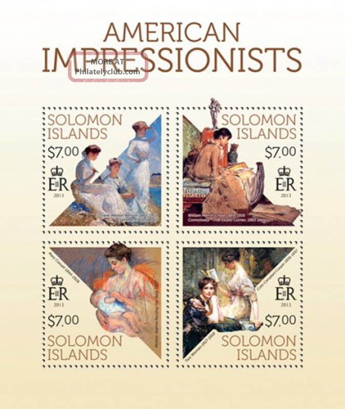 Solomon Islands 2013 American Impressionists 4 Stamp Sheet 19m - 305 Topical Stamps photo