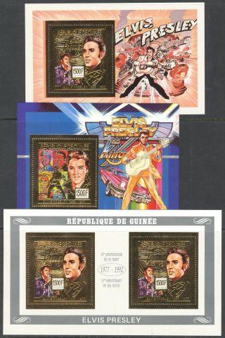 Guinea 1992 Music Elvis Presley 15th Anniv.  Of Death 3 S/s Gold Folie photo