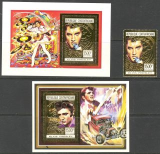 Central African Republic 1993 Music Elvis Presley 1st.  +2 S/s Gold Folie photo