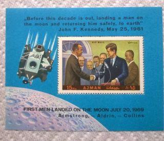 1970 Ajman Commemorative Sheet - John F.  Kennedy And Apollo 11 Crew photo