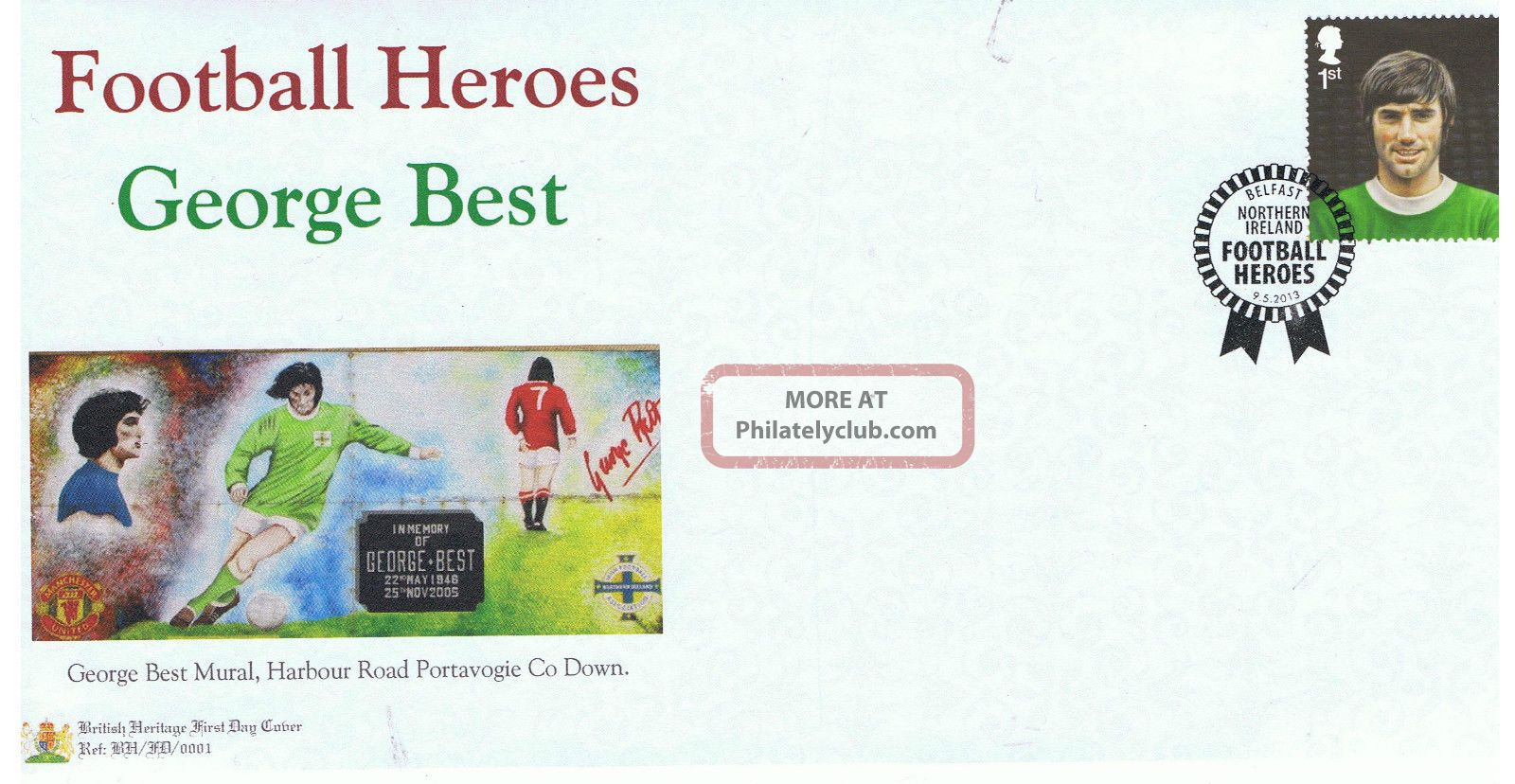 George Best - Football Hero Limited Edition (100 Only) British Heritage Cover Topical Stamps photo