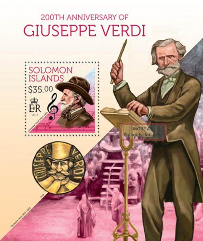 Solomon Islands 2013 Composer Verdi Stamp Souvenir Sheet 19m - 304 Topical Stamps photo