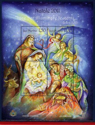 Sm - 11 - 8 San Marino 2011 - Christmas - Religion - Crib - Souvenir Sheet photo
