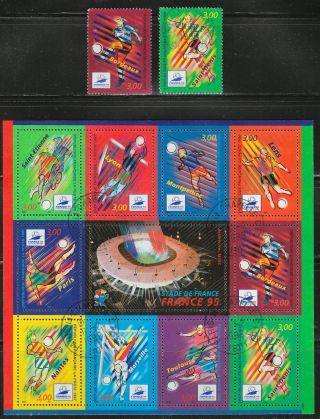 France 1998 Postal Sc 2623 - 24 A) Sheet Of 10 Soccer World Championships Rrr photo