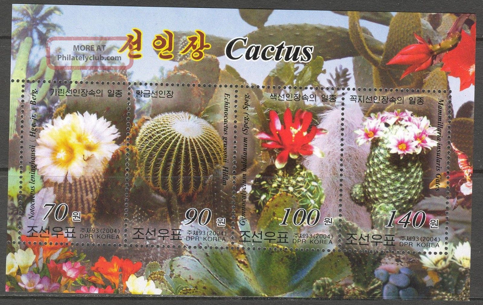 2004 Flowers Cactus Sheet Of 4 Cr Topical Stamps photo