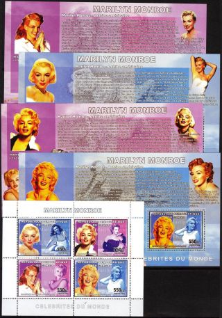 Congo 2006 Art Cinema Actors Marilyn Monroe 5 S/s photo