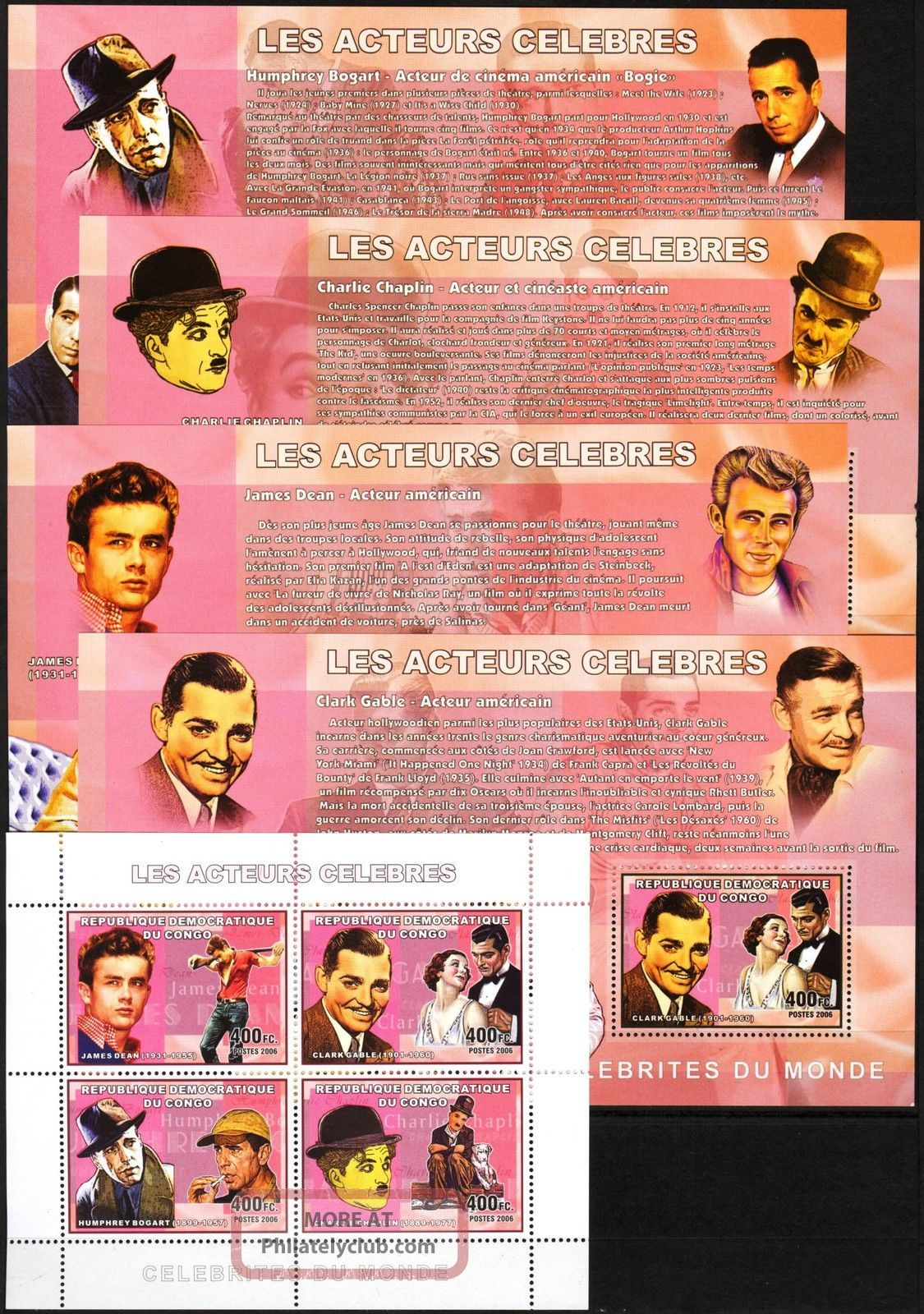 Congo 2006 Art Cinema Actors C.  Gable C.  Chaplin J.  Dean H.  Bogart 5 S/s Topical Stamps photo