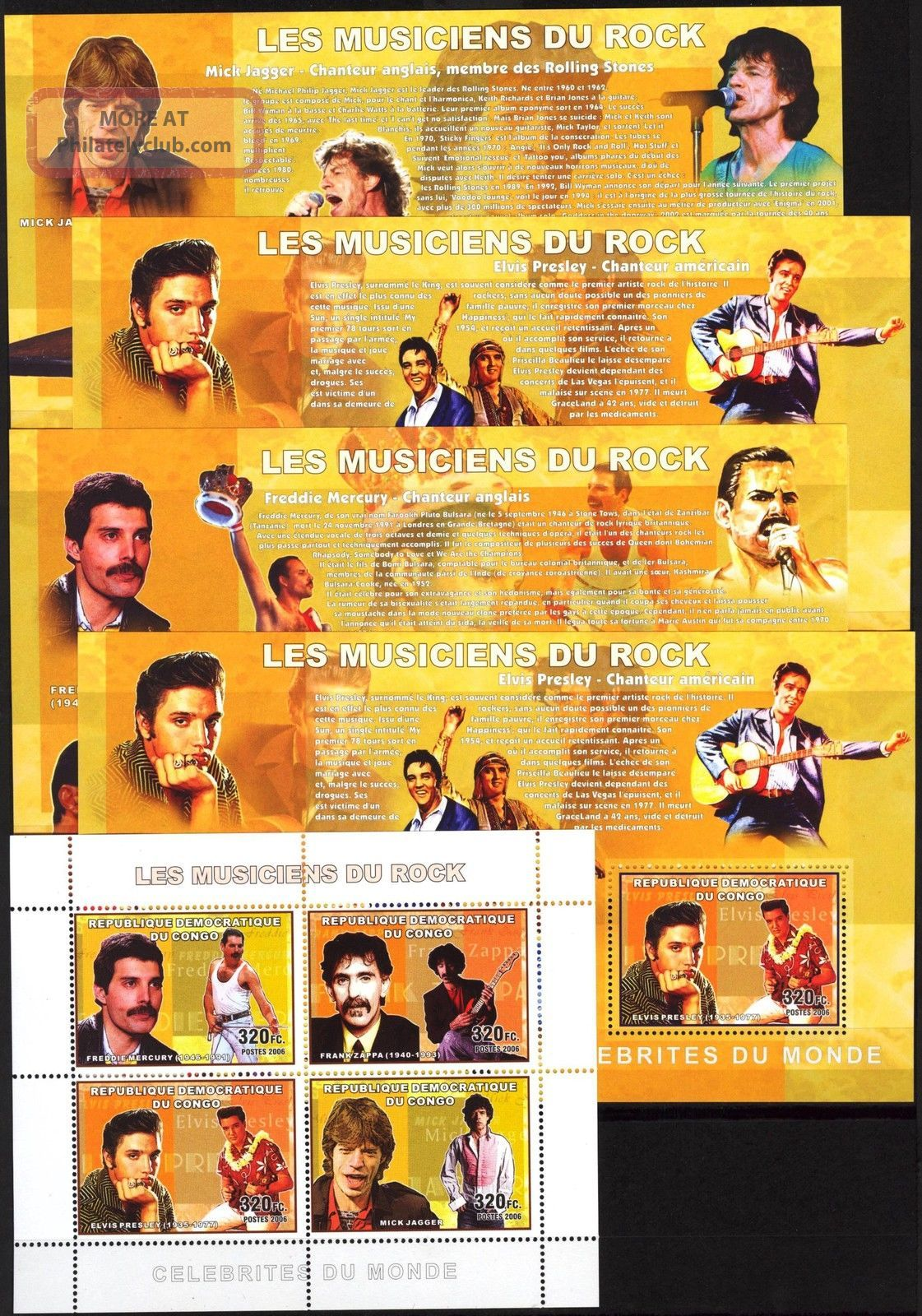 Congo 2006 Music Rock E.  Presley M.  Jager F.  Mercury Queen Zappa 5 S/s Topical Stamps photo