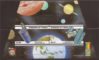 Tonga - 2000 Satellites & Space - 2 Stamp Sheet - 20n - 028 photo