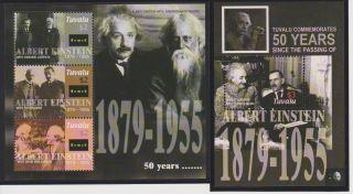 Tuvalu 50th Memorial Ann.  Of Albert Einstein Sheet Of 3 & S/s Scott 980 - 981 photo