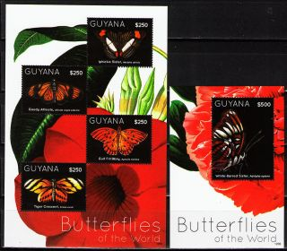 Guyana 2012 Butterflies Ii 1 Ms Of 4 Different + 1 Ss photo