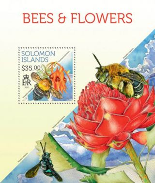 Solomon Islands 2013 Bees On Flowers Stamp Souvenir Sheet 19m - 292 photo