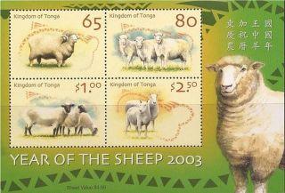 Tonga - 2002 Year Of The Sheep - 4 Stamp Sheet - 20n - 007 photo