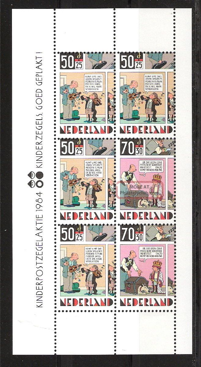 Netherlands 1984 Comic Strips For Child Welfare Mini - Sheet (sc B610a) Topical Stamps photo