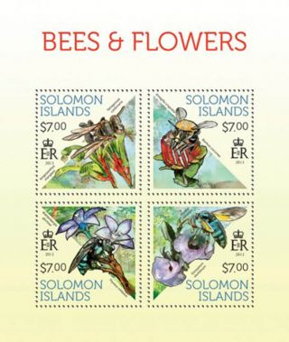 Solomon Islands 2013 Bees On Flowers 4 Stamp Sheet 19m - 291 photo