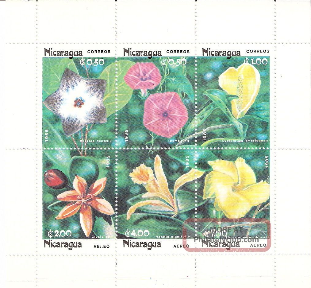 Nicaragua 1985 Flowers Mini - Sheet (sc 1459a) Topical Stamps photo