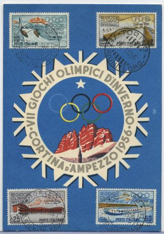 1956 Winter Olympic Games Cortina D ' Ampezzo Publicity Postcard Opening Day Cds photo