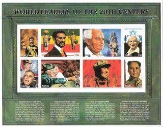 Nevis 1999 World Leaders 20th Century S/s (sc 1136) photo