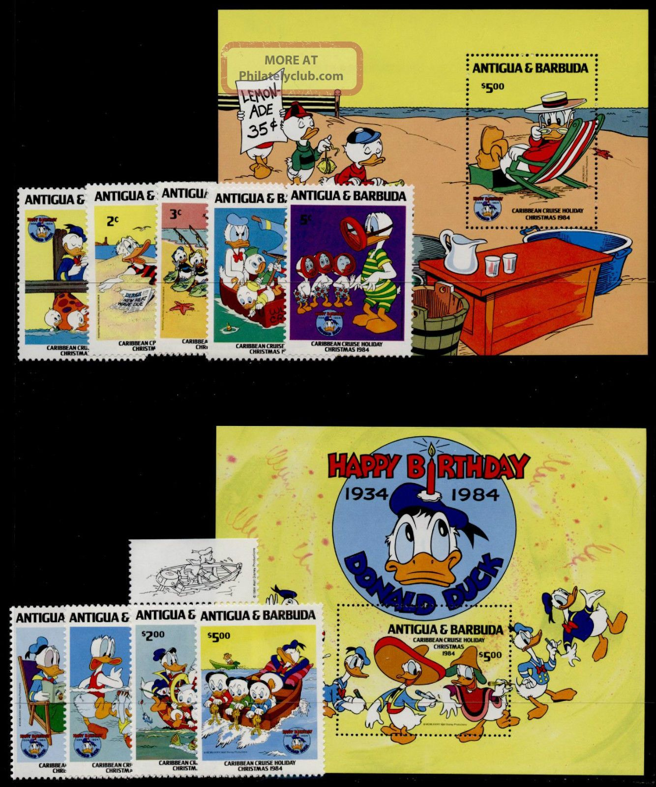 Antigua 808 - 18 Disney,  Caribbean Cruise Holiday,  Donald Duck 50th Anniv Topical Stamps photo