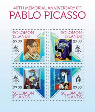 Solomon Islands 2013 Artist Pablo Picasso 4 Stamp Sheet 19m - 299 photo