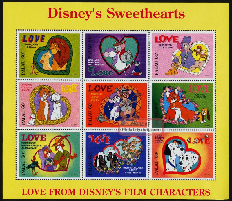 Palau 393 - 5 Disney Sweethearts,  Dogs,  Cats,  Animals Topical Stamps photo