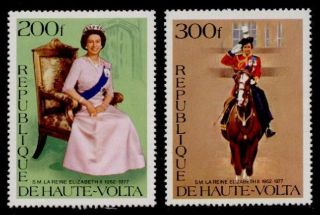 Upper Volta 436 - 7 Queen Elizabeth Ii,  Horse.  25th Anniv Of Coronation photo