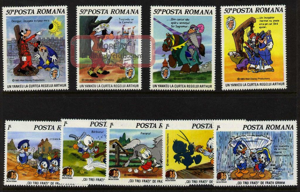 Romania 3331 - 9 Mh Brothers Grimm,  Mark Twain,  Horses Topical Stamps photo