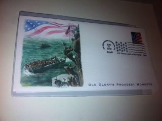 Old Glory Usa Fleetwood Fdc U.  S.  Troops At Normandy Wwii 1944 First Day Cover photo