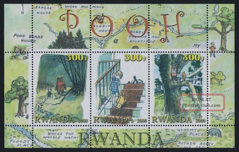 Rwanda Winnie The Pooh Souvenir Sheet Topical Stamps photo