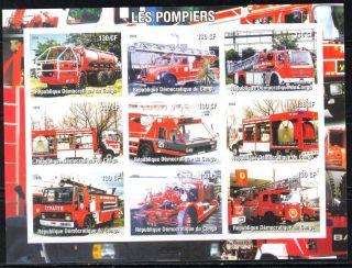 2004 Firetrucks Engines Iii Sheet Of 9 Imperf. photo