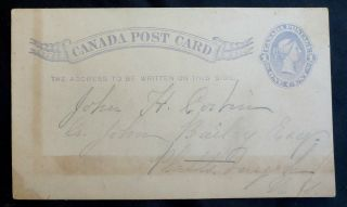 1884 One Cent Queen Victoria Canadian Stationary Postcard photo