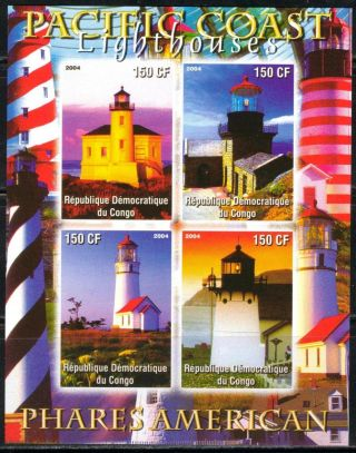 2004 Pacific Coast Lighthouses Of America Sheet Of 4 Imperf. photo