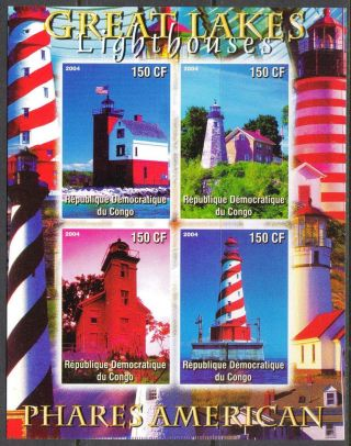 2004 Great Lakes Lighthouses Of America Sheet Of 4 Imperf. photo