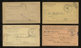 Delivery Advice 1889 - 1918 Usa Package + Registered. . .  4 Cards photo