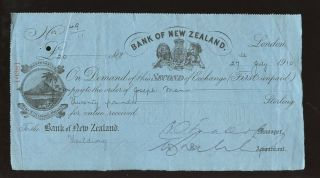 Cheque Zealand Bank 1910 Ilustrated. . .  Fielding. . .  Kiwi Bird. . .  L1 photo
