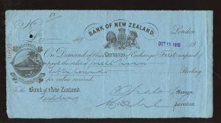 Cheque Zealand Bank 1910 Ilustrated. . .  Fielding. . .  Kiwi Bird. . .  L2 photo