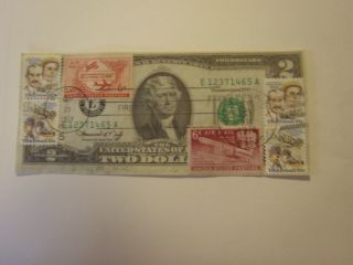 (better Pics) Wright Bros.  Comm.  Stamp Display On ' 76 $2.  Crisp Note photo