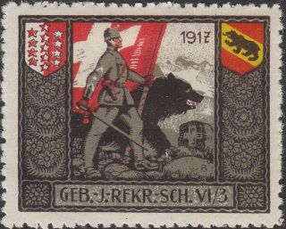 Stamp Label Switzerland 1917 Wwi Poster Feldpost Flag Soldier Military photo
