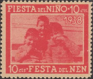 Stamp Label Spain Exposition 1938 Nino Festival Fiesta Children photo