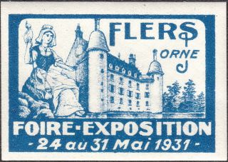 Stamp Label France Exposition 1931 Poster Cinderella Foire Orne Fair Paris photo
