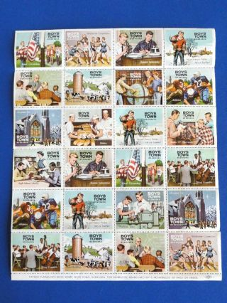 Vintage 1967 Boys Town Activities Full 24 Stamp Sheet Cinderella Catholic Seals photo