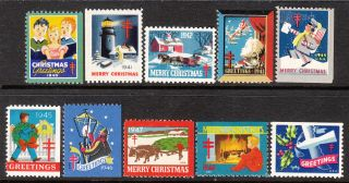 Stamp Label Us Christmas Seal 1940 - 9 Tb Greetings Holiday Selection photo