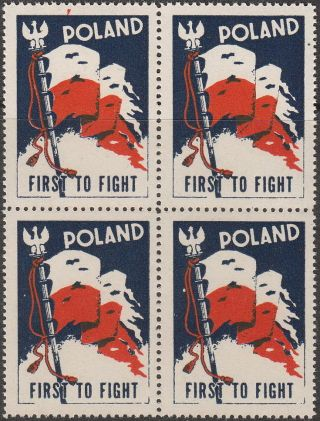 Stamp Label Poland Block Wwii Poster Cinderella Red Cross Victory Flag photo