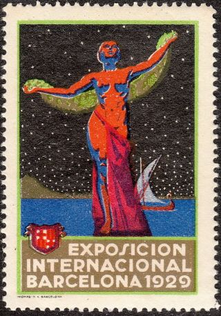 Stamp Label Spain Exposition 1929 Poster Cinderella Barcelona Exhibition photo