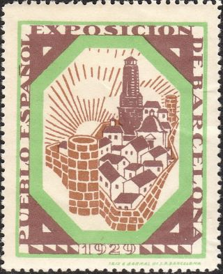 Stamp Label Spain Expostition 1929 Poster Cinderella Mbarcelona Fair Pueblo Nh photo
