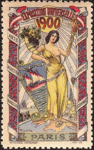 Stamp Label France Exposition 1900 Poster Cinderella International Fair photo