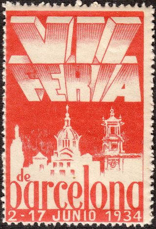 Stamp Label Spain Exposition 1934 Poster Cinderella Barcelona Vii Feire Fair Mn photo