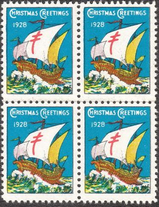 Stamp Label Us Christmas Seal Block 1928 Tb Sail Boat Greetings Holiday photo