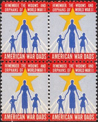 Stamp Label Usa Wwii Block Poster American War Dads Remember Widows Orphans 2 Mn photo